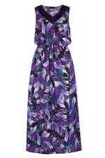 Tropical Leaf Print Casual Maxi Dress