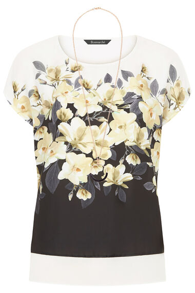 Printed Woven Front Top with Necklace