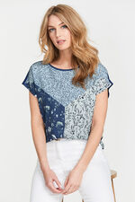 Floral Print Woven Front T-Shirt