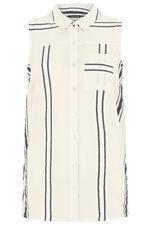 Sleeveless Stripe Button Through Shirt
