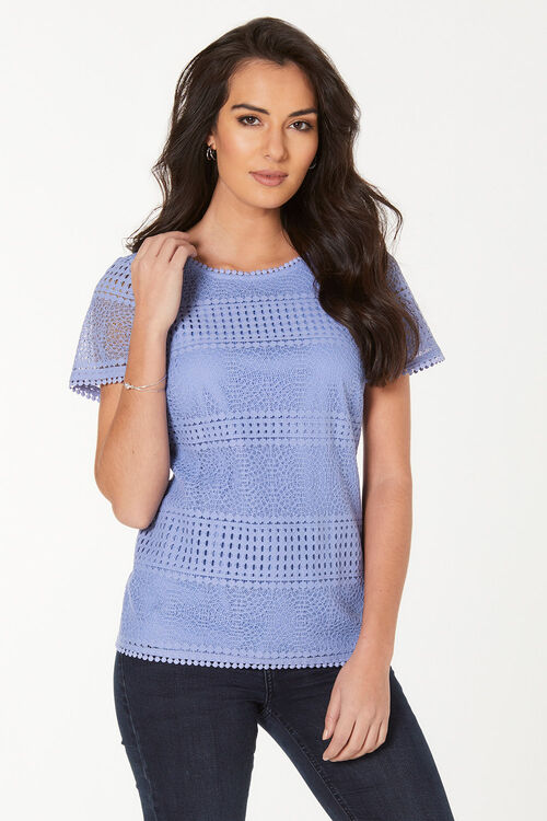 Short Sleeve Lace Shell Top with Jersey Back