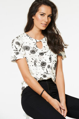 Floral Printed Twist Neck Top