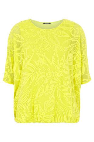 Palm Print Textured Jersey Blouson Top