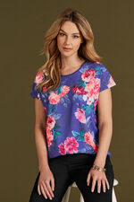 Floral Printed Shell Top With Studs