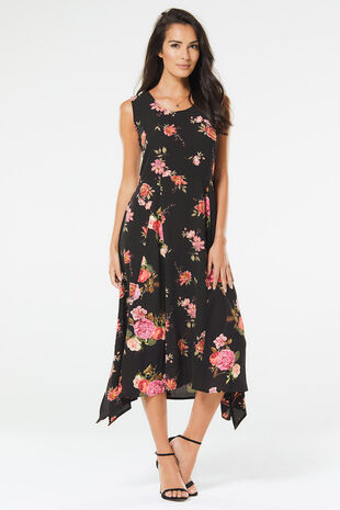 Stella Morgan Floral Hanky Hem Dress