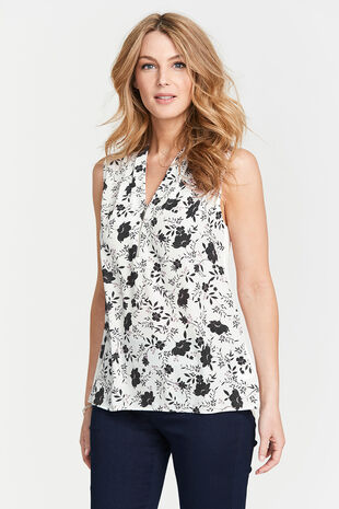 Sleeveless Floral Print Zip Detail Top