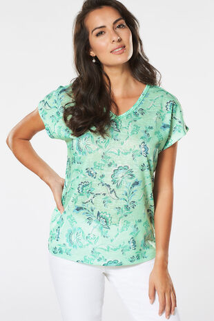 Floral Printed V Neck T-Shirt