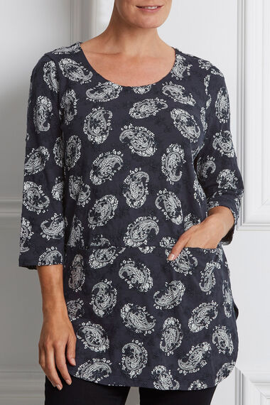 Printed and Embroidered Cotton Tunic