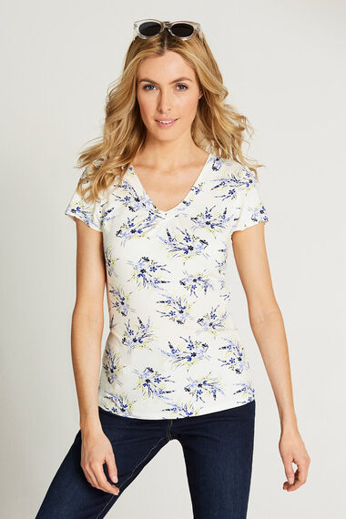 Sprig Print V Neck Short Sleeve Top