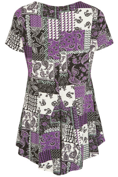 Paisley Patchwork Print Tunic Top With Necklace