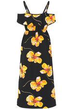 Poppy Print Cold Shoulder Maxi Dress