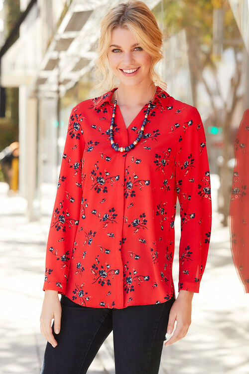 Longline Floral Print Shirt with Collar