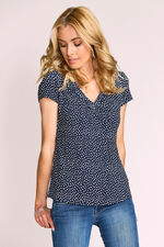Blurred Spot Printed V Neck Jersey Top