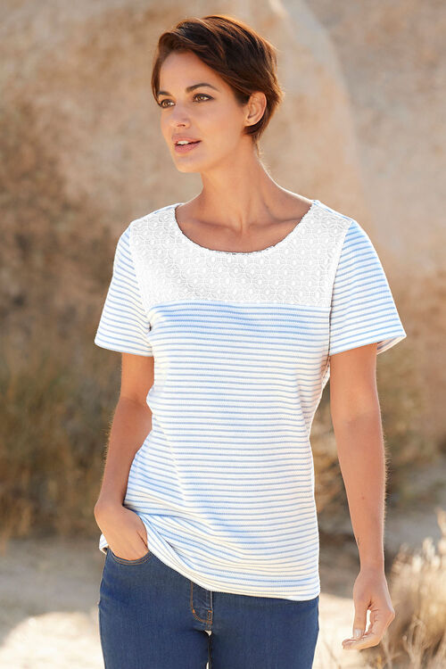 Textured Stripe with Lace T-Shirt