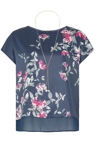 Satin Front Jersey Back Top With Necklace