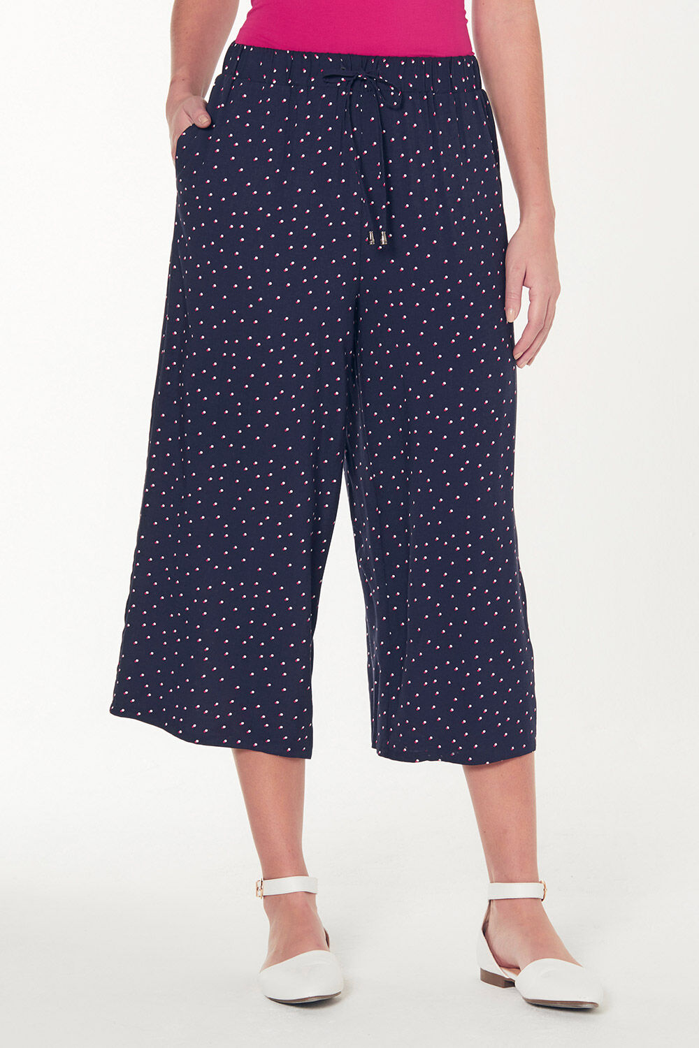 Spot Printed Wide Leg Cropped Trousers