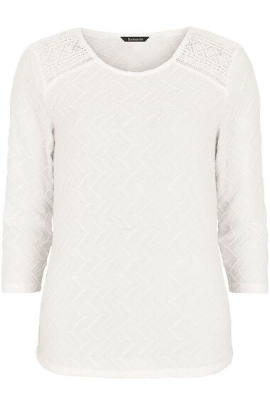 Textured Jersey 3/4 Sleeve Top with Crochet Insert