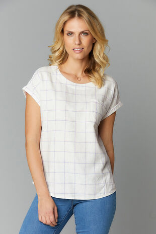 Grid Check Linen Blend Shell Top