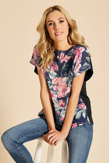 Floral Print Top With Foil Detailing And Jersey Back