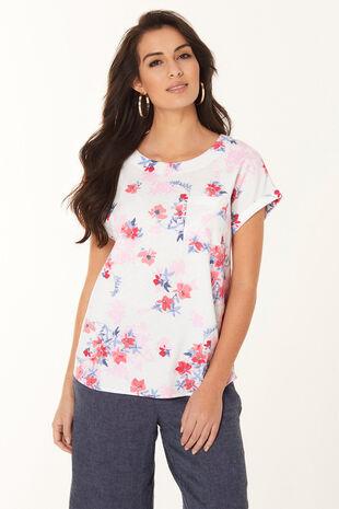 Floral Linen Blend Shell Top