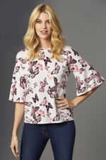 Soft Touch Butterfly Printed Frill Sleeve Jumper
