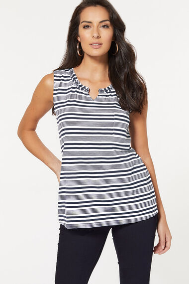 Stripe Notch Neck Vest