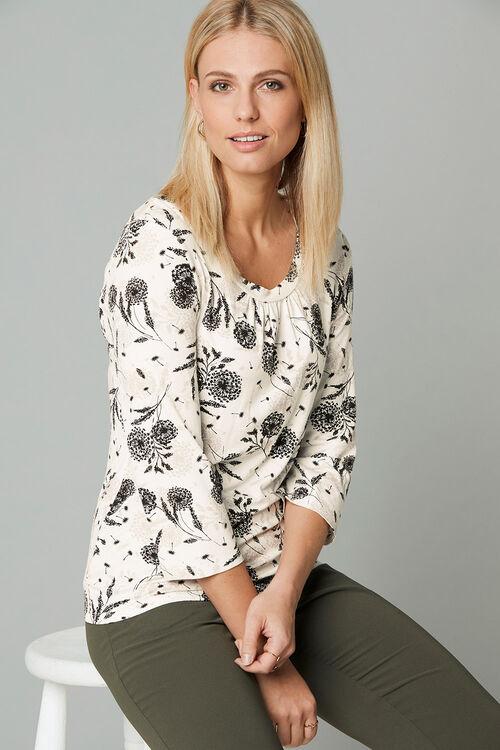 3/4 Sleeve Floral Print Scoop Neck Top