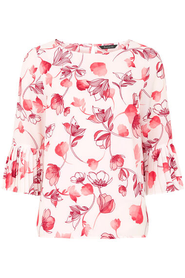 Stem Print Blouse With Pleated Sleeves