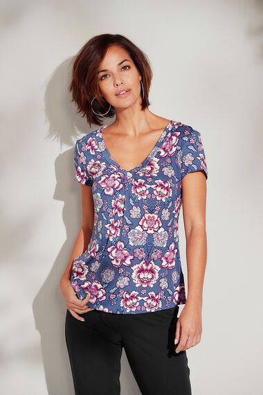Printed V Neck Jersey Top