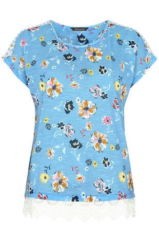 Floral Print Lace Hem T-Shirt