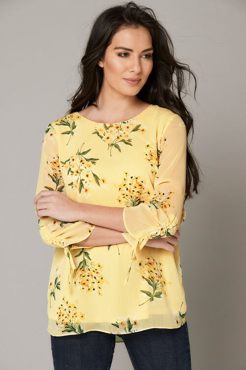 Floral Print Rouched Sleeve Blouse