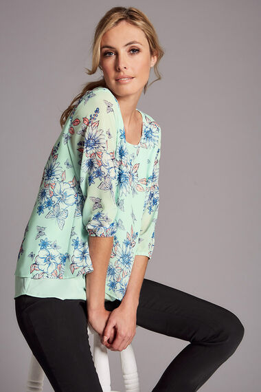 Floral And Butterfly Printed Double Layer Blouse