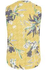 Sleeveless Floral Print Button Through Top