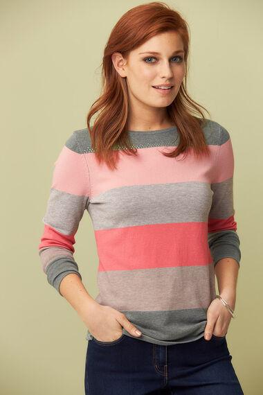 Colour Block Stripe Jumper