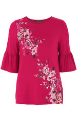 Floral Printed Top With Fluted Sleeves