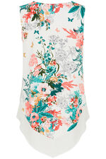 Sleeveless Floral Top With Chiffon Hem