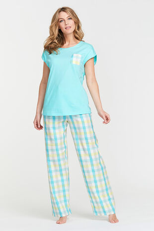 Aqua Check Pocket Pyjama Set