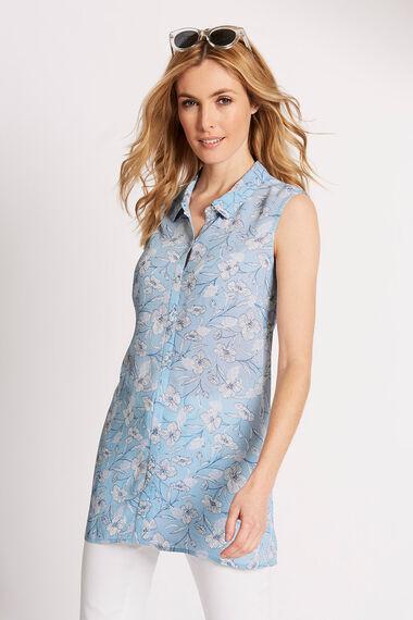 Floral Print Sleeveless Button Through Blouse