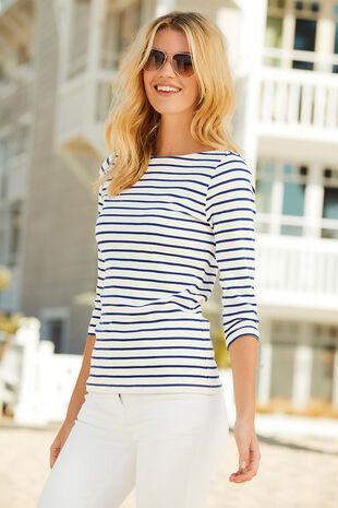 Stripe Boat Neck T-Shirt
