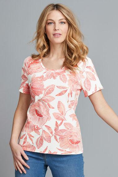 Scoop Neck Tropical Print T-Shirt