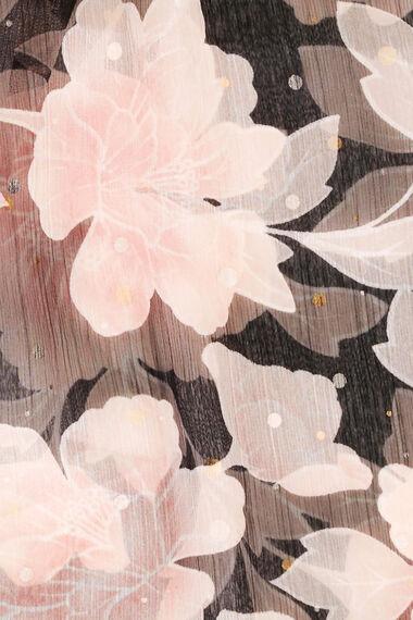 Foil Rose Printed Chiffon Scarf