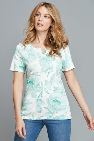 Notch Neck Printed T-Shirt