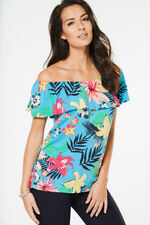 Tropical Printed Bardot Top