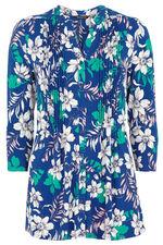 Linear Floral Print Pintuck Jersey Top
