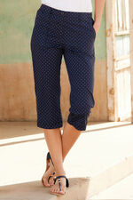 Diamond Print Cotton Cropped Trousers