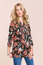 Linear Floral Printed Pintuck Detail Top