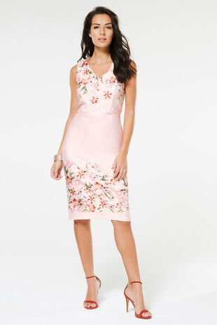 Floral Border Stretch Shift Dress
