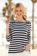 Lace Up Shoulder Stripe Sweat