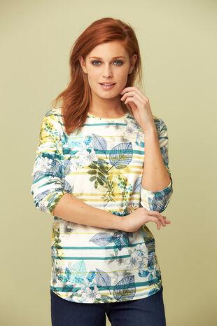 Floral & Stripe Printed Sweater