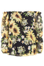 Sunflower Print Bardot Gypsy Top